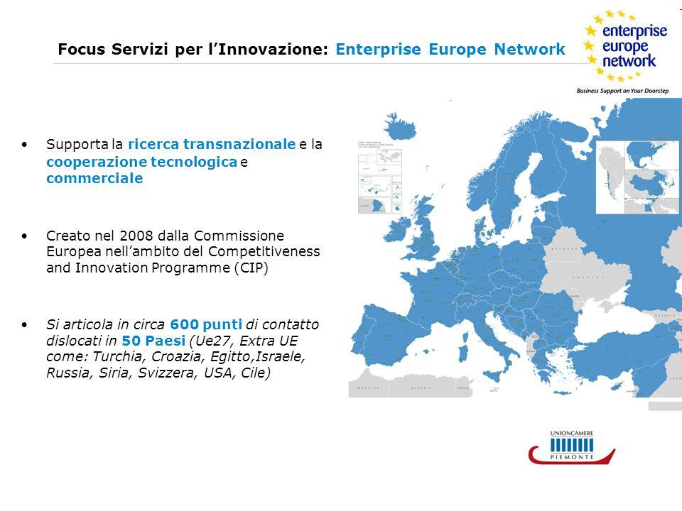 Enterprise Europe Network in Italia 5 Consorzi in Italia http://www.enterprise-europe-network-italia.eu/ Nel Nord Ovest: ALPS (Valle dAosta, Liguria, Piemonte System): CCIAA di Torino (coordinatore) - Unioncamere Piemonte – Confindustria Piemonte - Finpiemonte Unioncamere Liguria Agenzia per il Trasferimento Tecnologico e lInternazionalizzazione in Valle DAosta (ATTIVA) http://www.alps-europa.eu/