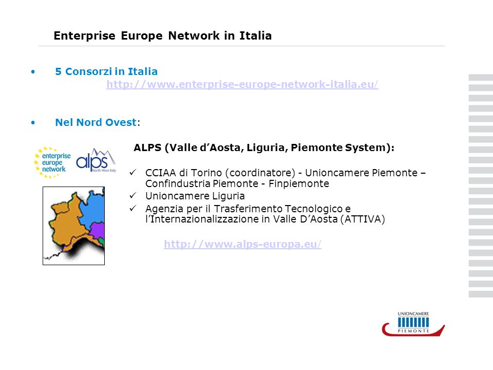 Enterprise Europe Network in Italia 5 Consorzi in Italia http://www.enterprise-europe-network-italia.eu/ Nel Nord Ovest: ALPS (Valle dAosta, Liguria,
