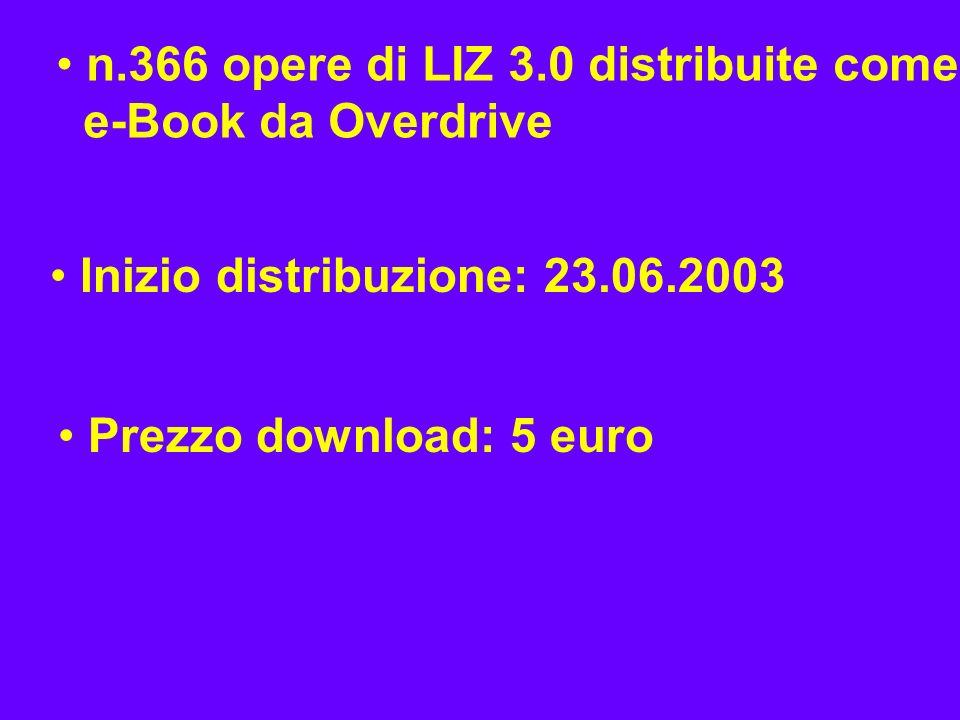 n.366 opere di LIZ 3.0 distribuite come e-Book da Overdrive Inizio distribuzione: 23.06.2003 Prezzo download: 5 euro