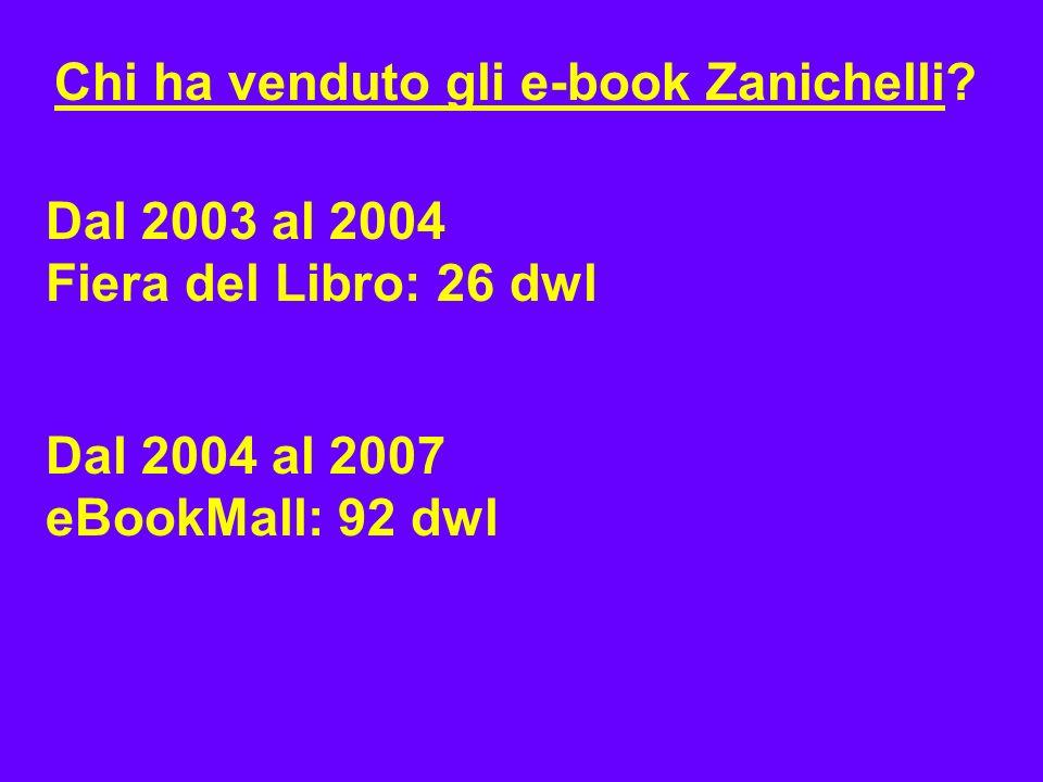 Chi ha venduto gli e-book Zanichelli? Dal 2003 al 2004 Fiera del Libro: 26 dwl Dal 2004 al 2007 eBookMall: 92 dwl