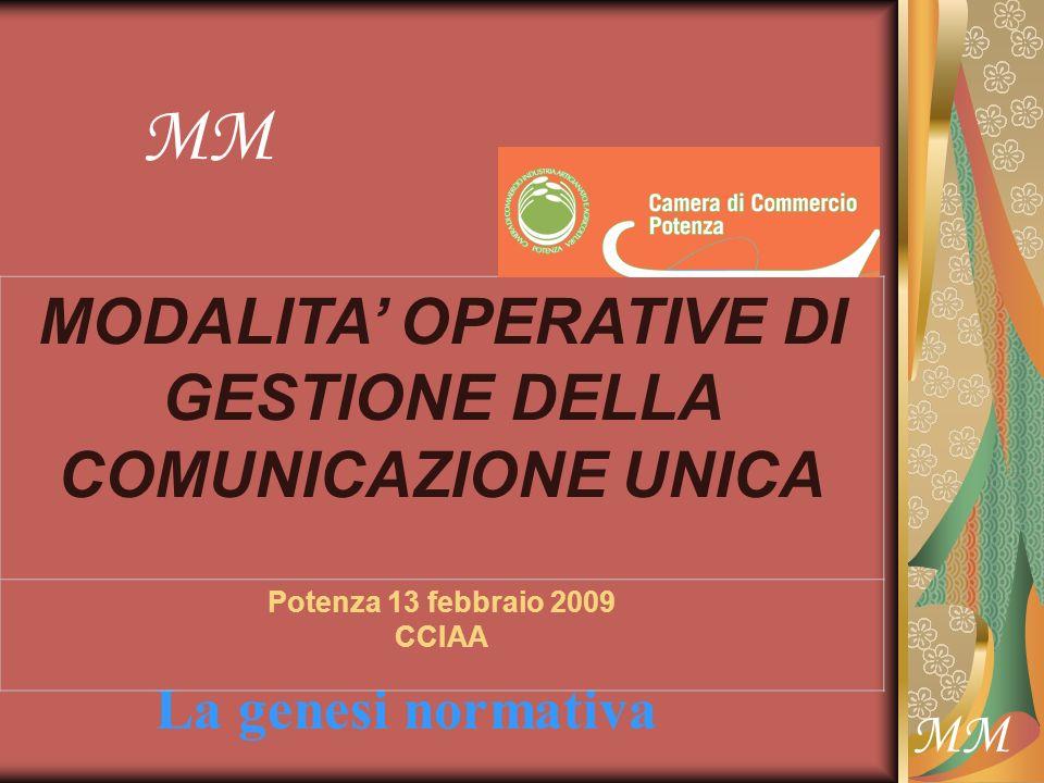 MM La genesi normativa MM MODALITA OPERATIVE DI GESTIONE DELLA COMUNICAZIONE UNICA Potenza 13 febbraio 2009 CCIAA