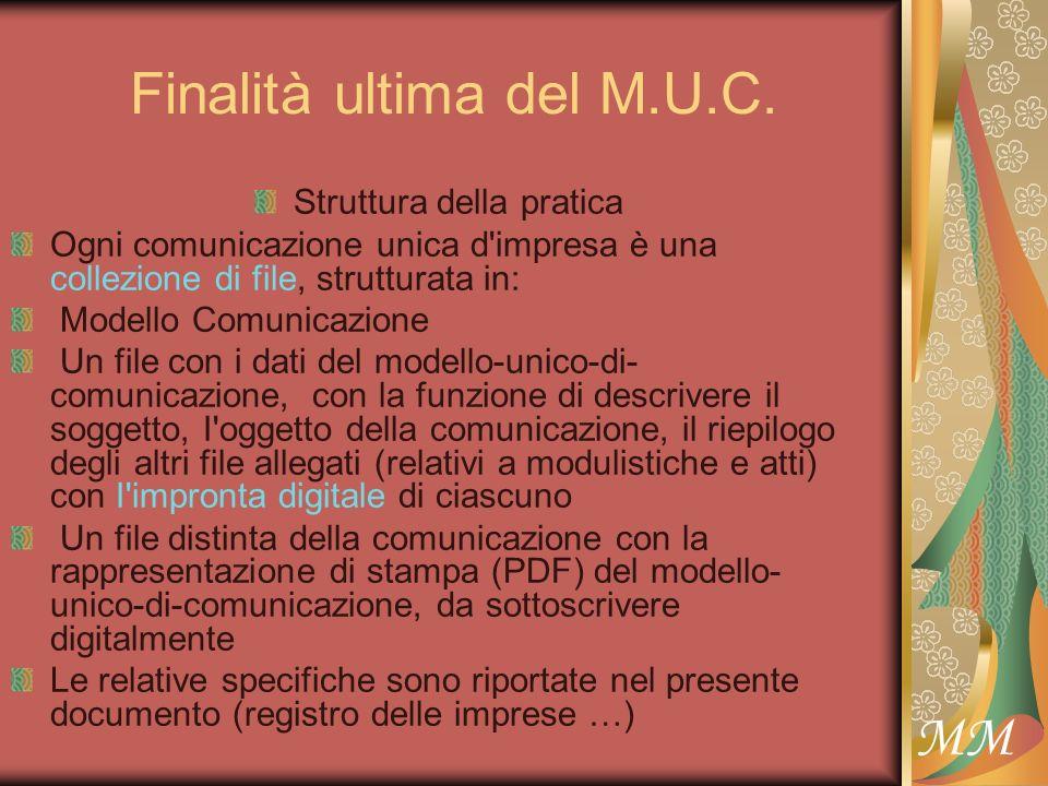 Finalità ultima del M.U.C. Struttura della pratica Ogni comunicazione unica d'impresa è una collezione di file, strutturata in: Modello Comunicazione