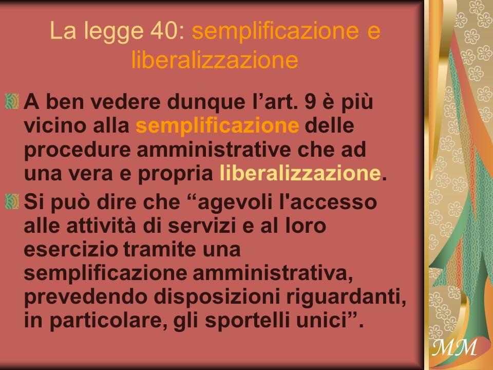 MM La legge 40: semplificazione e liberalizzazione A ben vedere dunque lart.