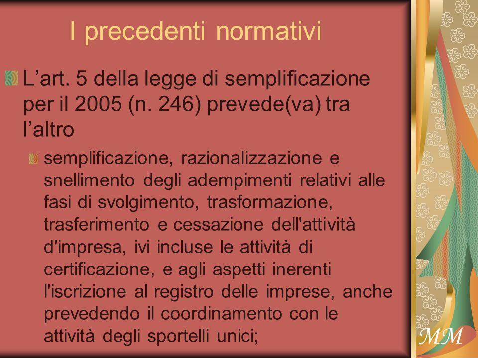 MM I precedenti normativi Lart. 5 della legge di semplificazione per il 2005 (n.
