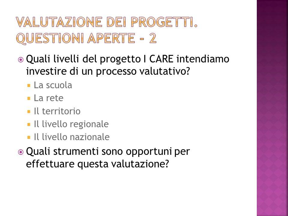 Quali livelli del progetto I CARE intendiamo investire di un processo valutativo.