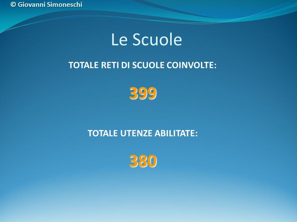 TOTALE RETI DI SCUOLE COINVOLTE:399 TOTALE UTENZE ABILITATE:380 Le Scuole © Giovanni Simoneschi