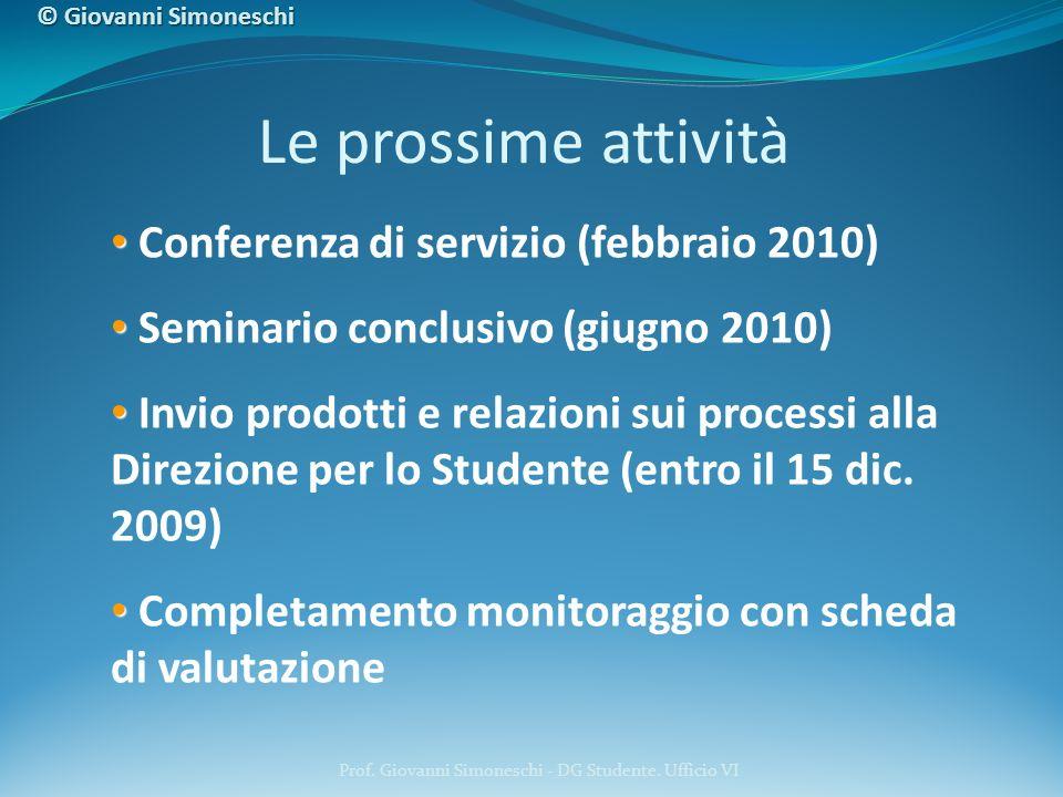 Prof. Giovanni Simoneschi - DG Studente. Ufficio VI Conferenza di servizio (febbraio 2010) Seminario conclusivo (giugno 2010) Invio prodotti e relazio