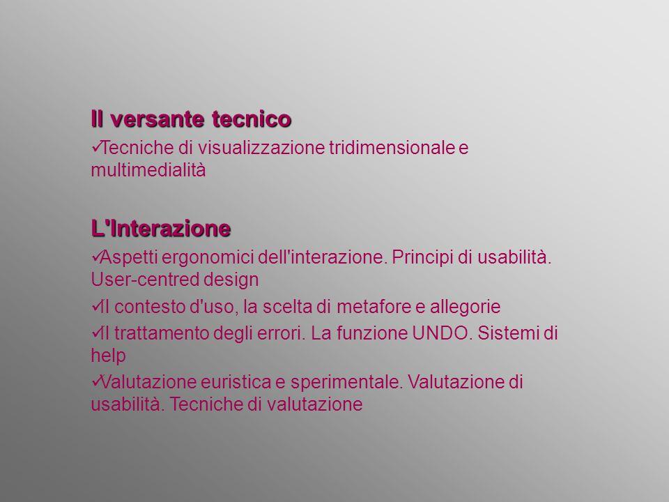 Il versante tecnico Tecniche di visualizzazione tridimensionale e multimedialitàL'Interazione Aspetti ergonomici dell'interazione. Principi di usabili