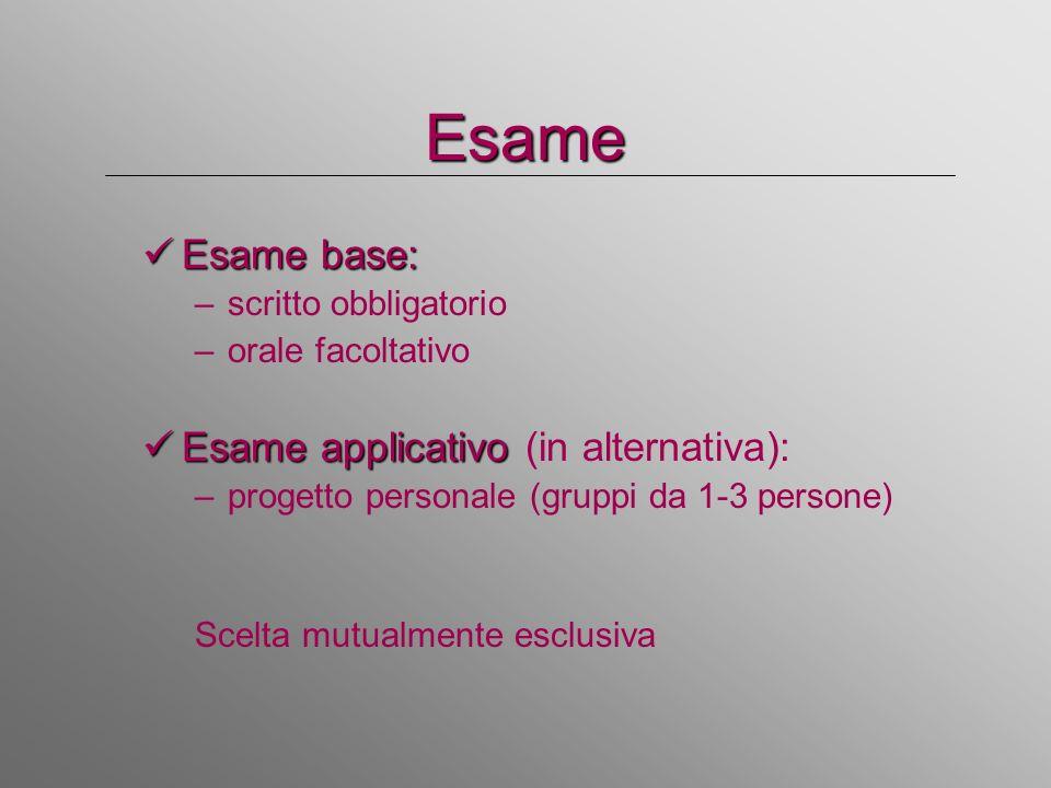 Esame Esame base: Esame base: –scritto obbligatorio –orale facoltativo Esame applicativo Esame applicativo (in alternativa): –progetto personale (grup