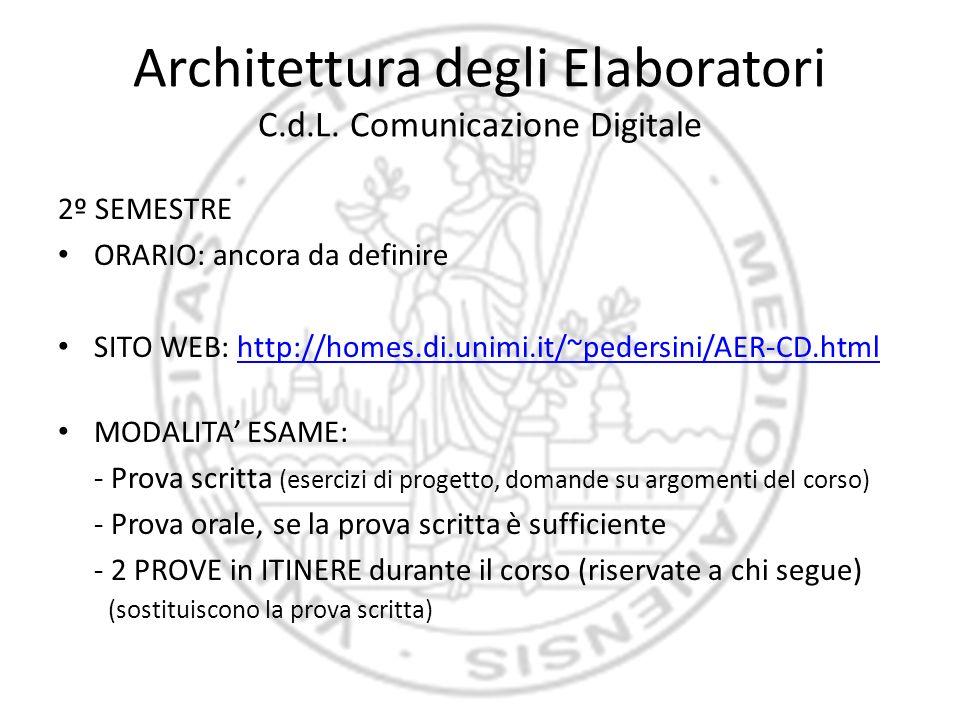 Architettura degli Elaboratori C.d.L. Comunicazione Digitale 2º SEMESTRE ORARIO: ancora da definire SITO WEB: http://homes.di.unimi.it/~pedersini/AER-