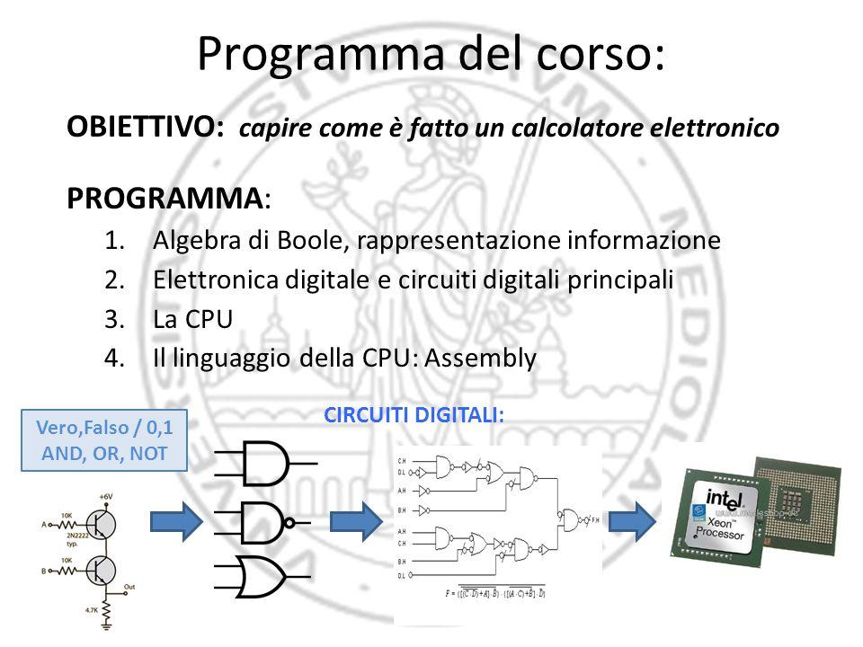Programma del corso: OBIETTIVO: capire come è fatto un calcolatore elettronico PROGRAMMA: 1.Algebra di Boole, rappresentazione informazione 2.Elettron