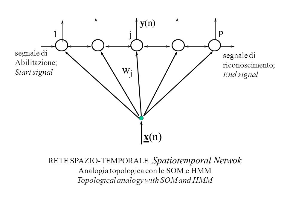 1 j P wjwj x(n) RETE SPAZIO-TEMPORALE ; Spatiotemporal Netwok Analogia topologica con le SOM e HMM Topological analogy with SOM and HMM y(n) segnale d