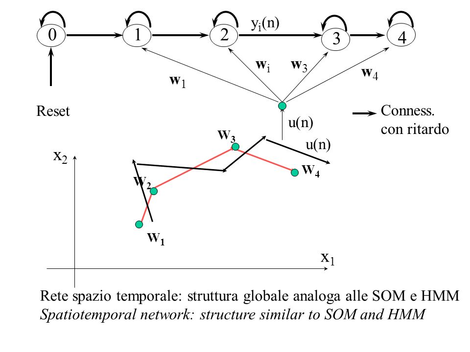 x1x1 x2x2 W1W1 W3W3 W2W2 W4W4 u(n) Rete spazio temporale: struttura globale analoga alle SOM e HMM Spatiotemporal network: structure similar to SOM an