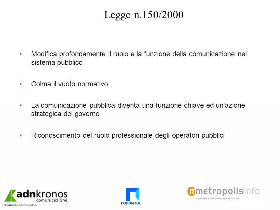 Legge n.150/2000 Modifica profondamente il ruolo e la funzione della comunicazione nel sistema pubblico Colma il vuoto normativo La comunicazione pubblica diventa una funzione chiave ed unazione strategica del governo Riconoscimento del ruolo professionale degli operatori pubblici