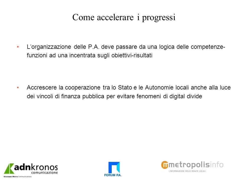 Come accelerare i progressi Lorganizzazione delle P.A.