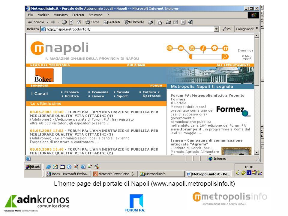 Lhome page del portale di Napoli (www.napoli.metropolisinfo.it)