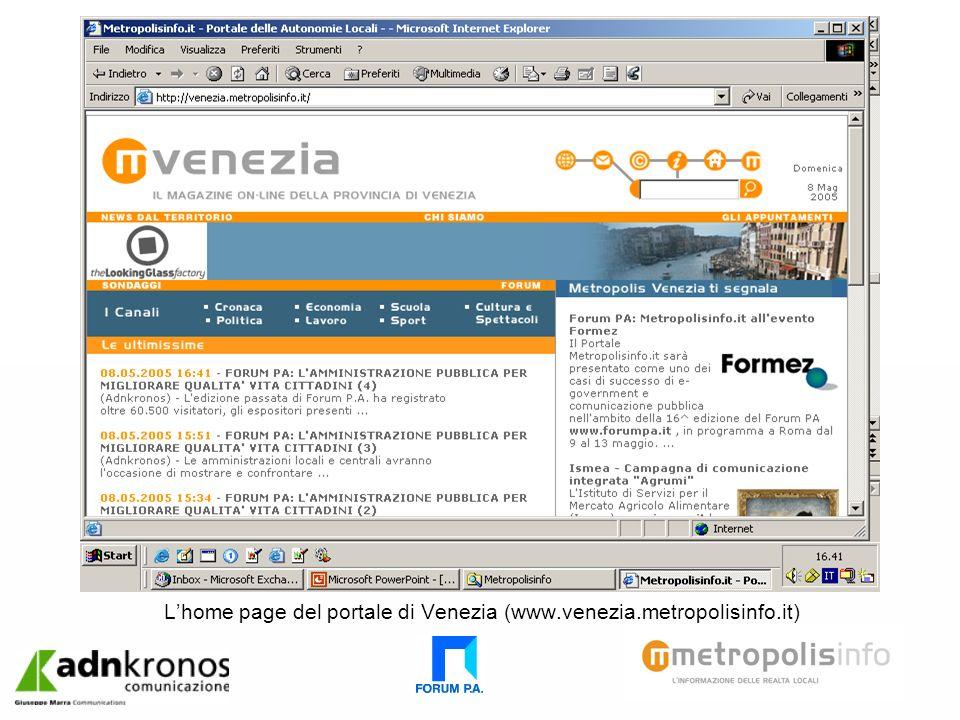 Lhome page del portale di Venezia (www.venezia.metropolisinfo.it)