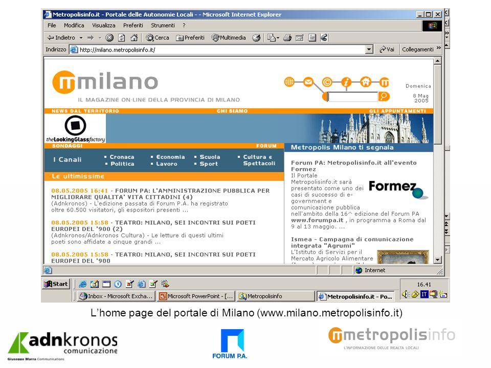 Lhome page del portale di Milano (www.milano.metropolisinfo.it)