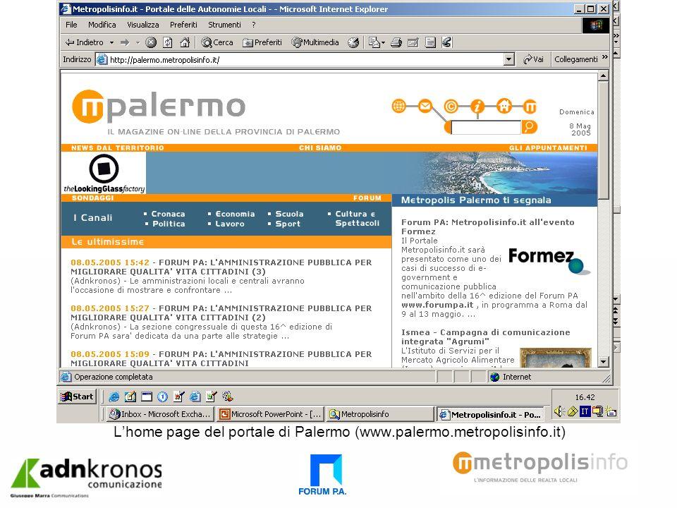 Lhome page del portale di Palermo (www.palermo.metropolisinfo.it)