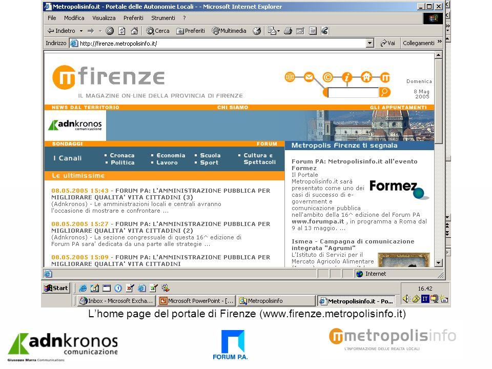 Lhome page del portale di Firenze (www.firenze.metropolisinfo.it)