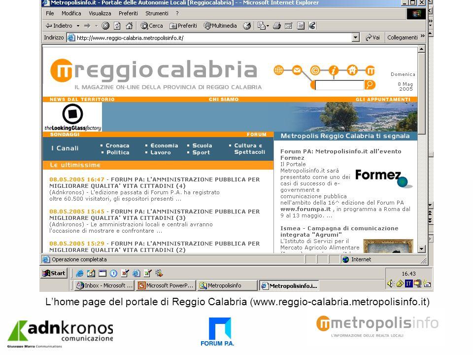 Lhome page del portale di Reggio Calabria (www.reggio-calabria.metropolisinfo.it)