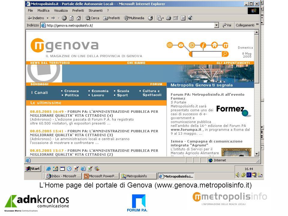 LHome page del portale di Genova (www.genova.metropolisinfo.it)