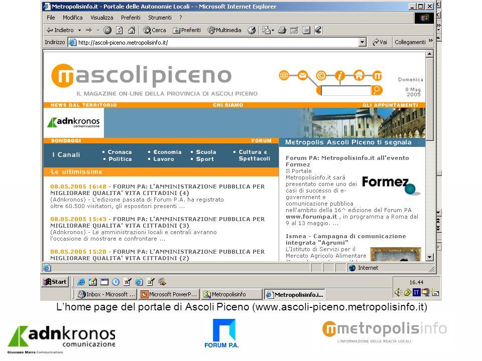 Lhome page del portale di Ascoli Piceno (www.ascoli-piceno.metropolisinfo.it)