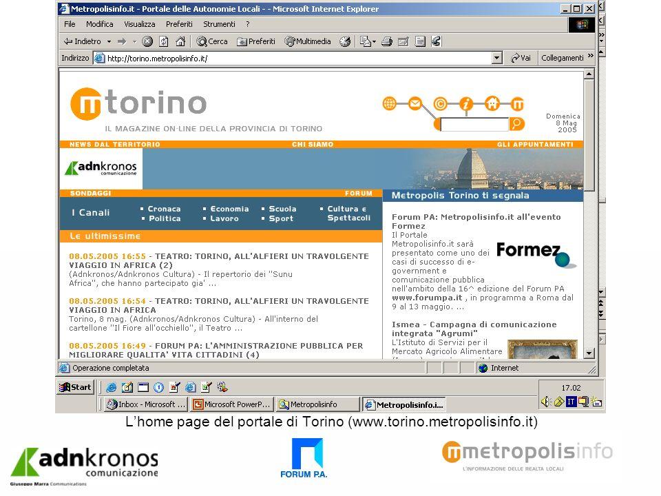 Lhome page del portale di Torino (www.torino.metropolisinfo.it)