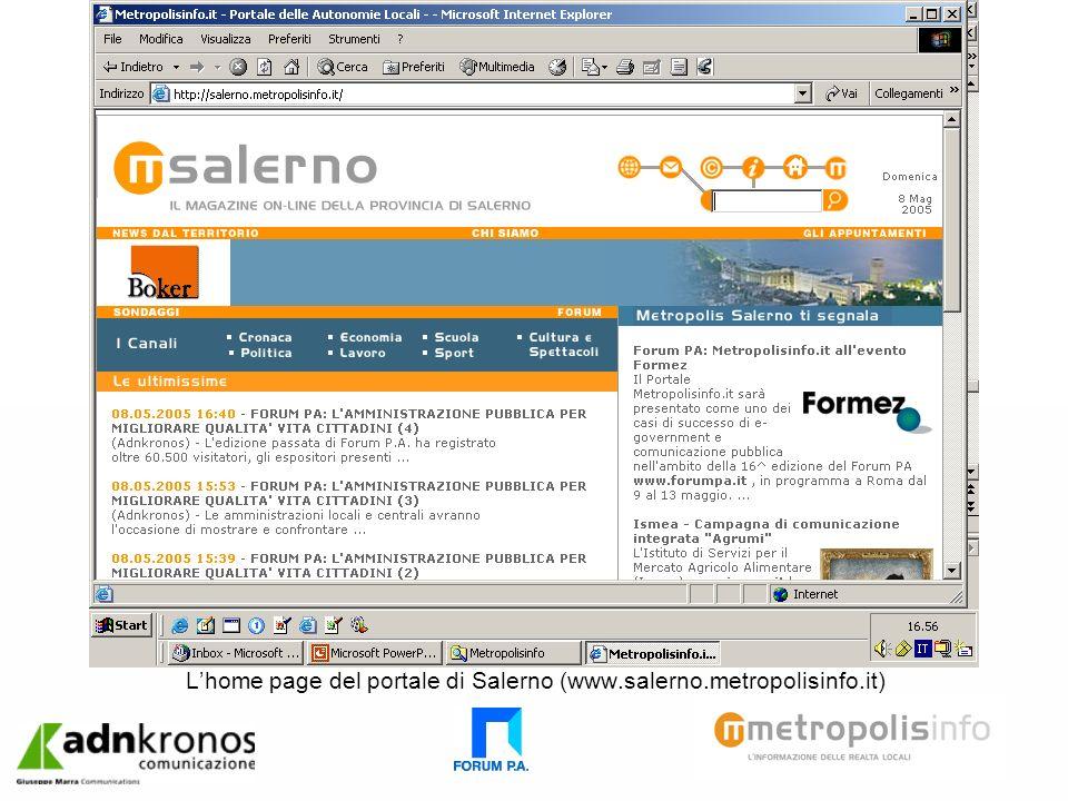 Lhome page del portale di Salerno (www.salerno.metropolisinfo.it)