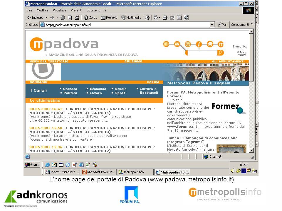Lhome page del portale di Padova (www.padova.metropolisinfo.it)