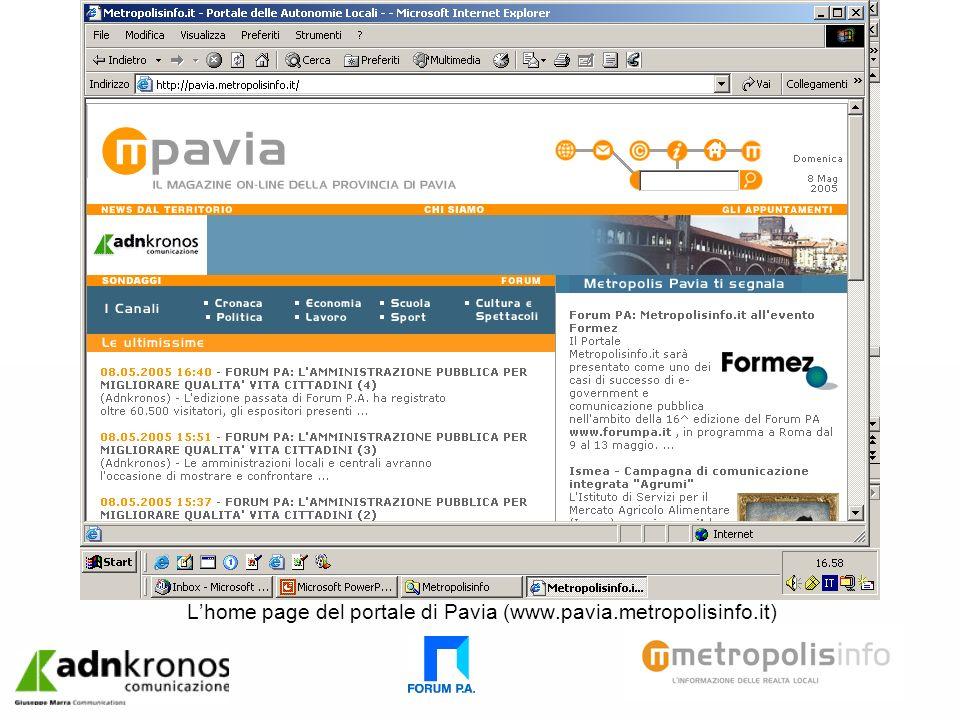 Lhome page del portale di Pavia (www.pavia.metropolisinfo.it)