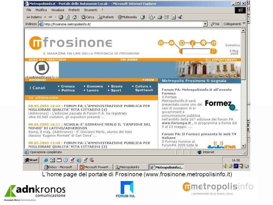 Lhome page del portale di Frosinone (www.frosinone.metropolisinfo.it)