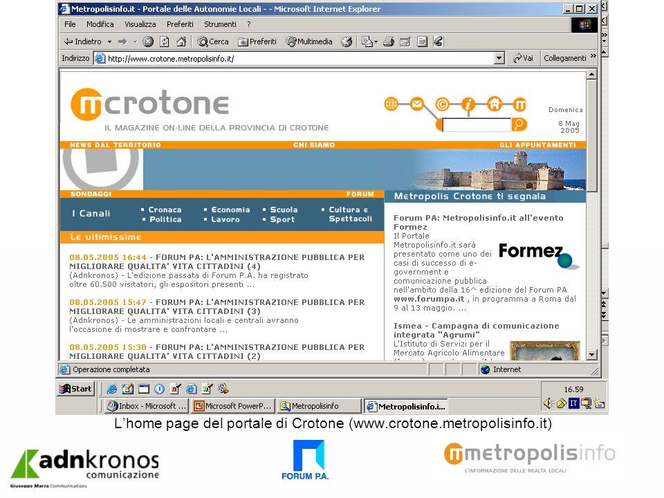 Lhome page del portale di Crotone (www.crotone.metropolisinfo.it)