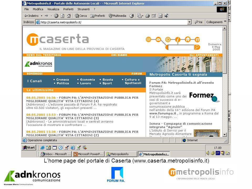 Lhome page del portale di Caserta (www.caserta.metropolisinfo.it)