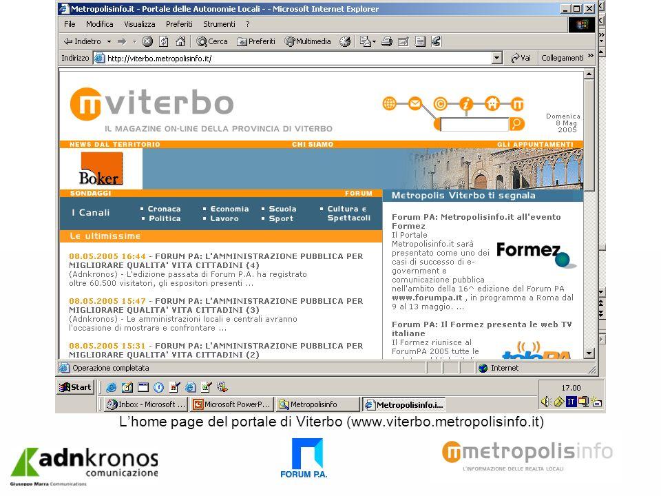 Lhome page del portale di Viterbo (www.viterbo.metropolisinfo.it)