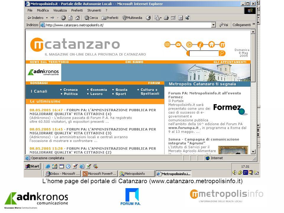Lhome page del portale di Catanzaro (www.catanzaro.metropolisinfo.it)