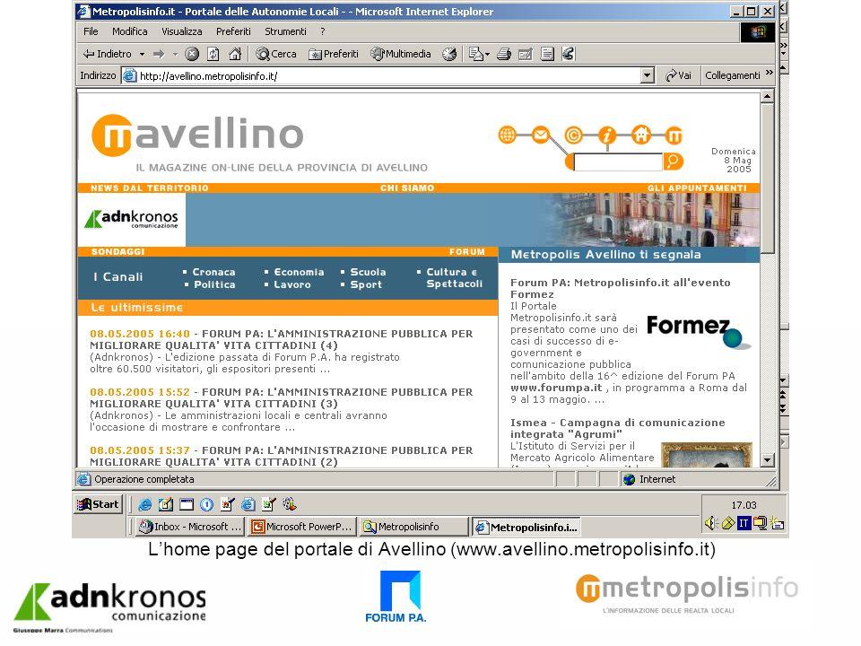 Lhome page del portale di Avellino (www.avellino.metropolisinfo.it)