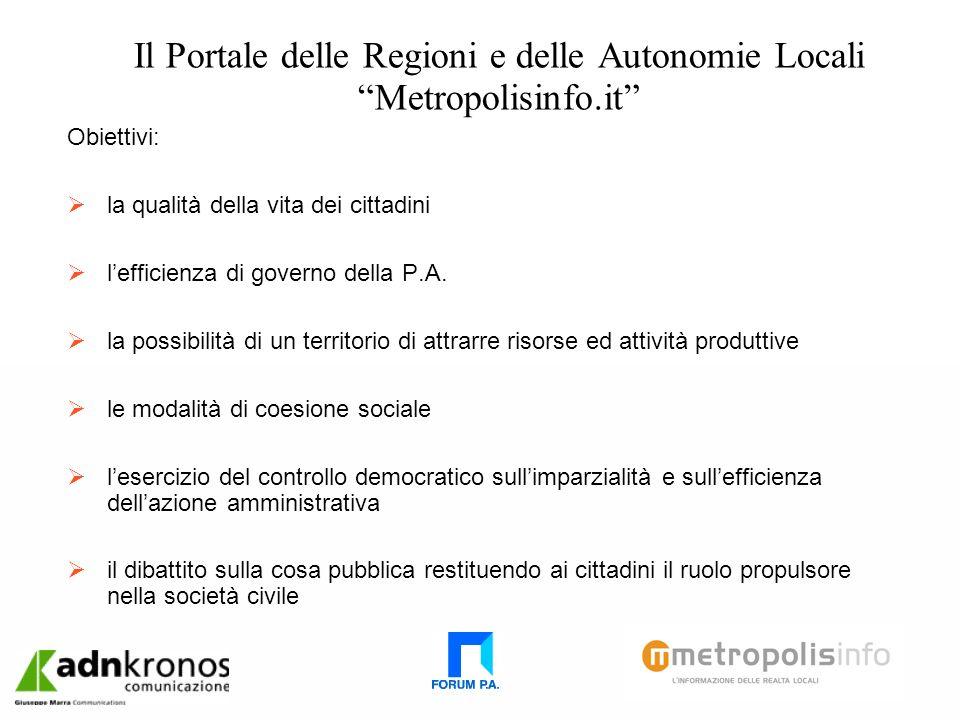 Il Portale delle Regioni e delle Autonomie Locali Metropolisinfo.it Obiettivi: la qualità della vita dei cittadini lefficienza di governo della P.A.