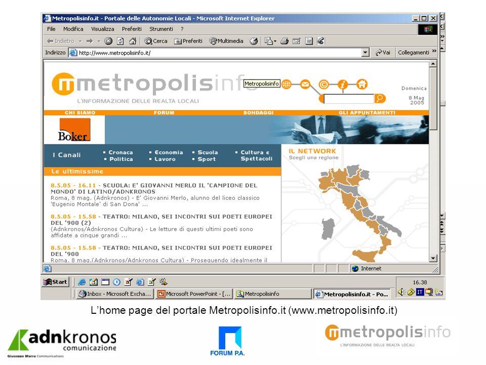 Lhome page del portale Metropolisinfo.it (www.metropolisinfo.it)