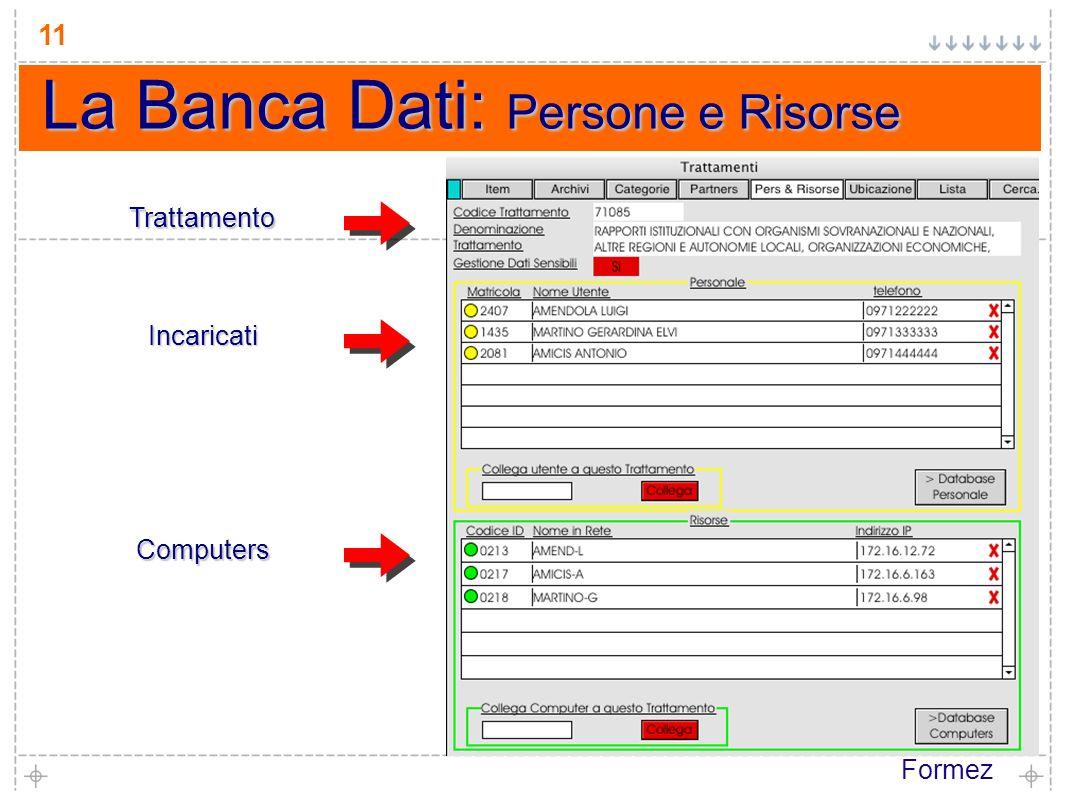 Formez 11 La Banca Dati: Persone e Risorse Trattamento Incaricati Computers