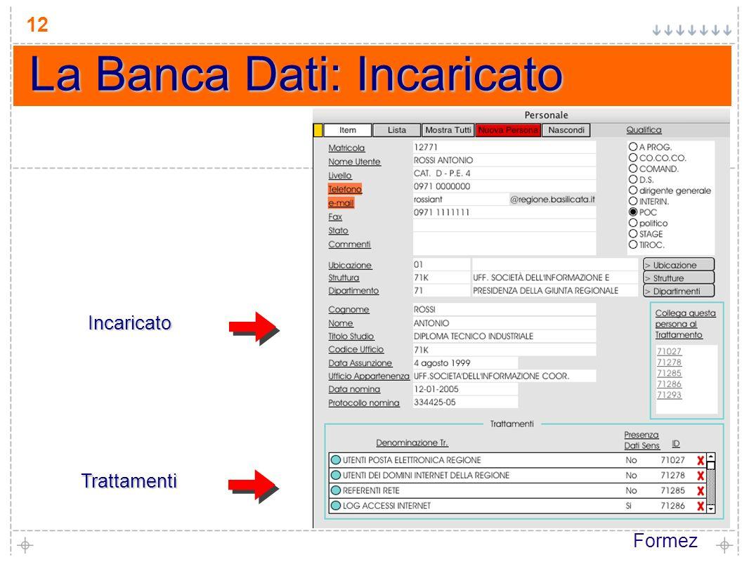 Formez 12 La Banca Dati: Incaricato Trattamenti Incaricato