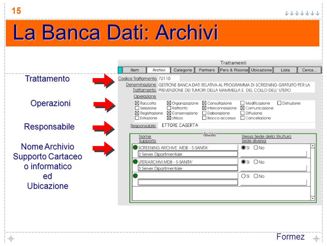Formez 15 La Banca Dati: Archivi Trattamento Responsabile Operazioni Nome Archivio Supporto Cartaceo o informatico edUbicazione