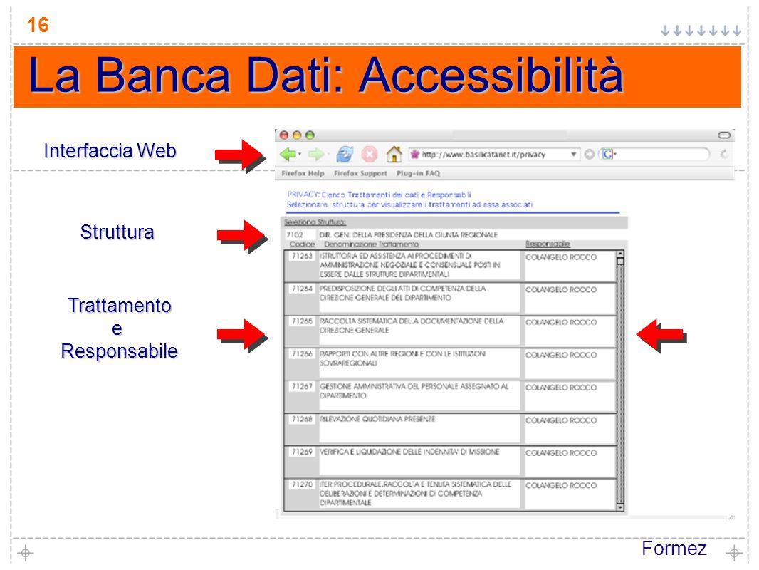 Formez 16 La Banca Dati: Accessibilità Interfaccia Web Struttura TrattamentoeResponsabile
