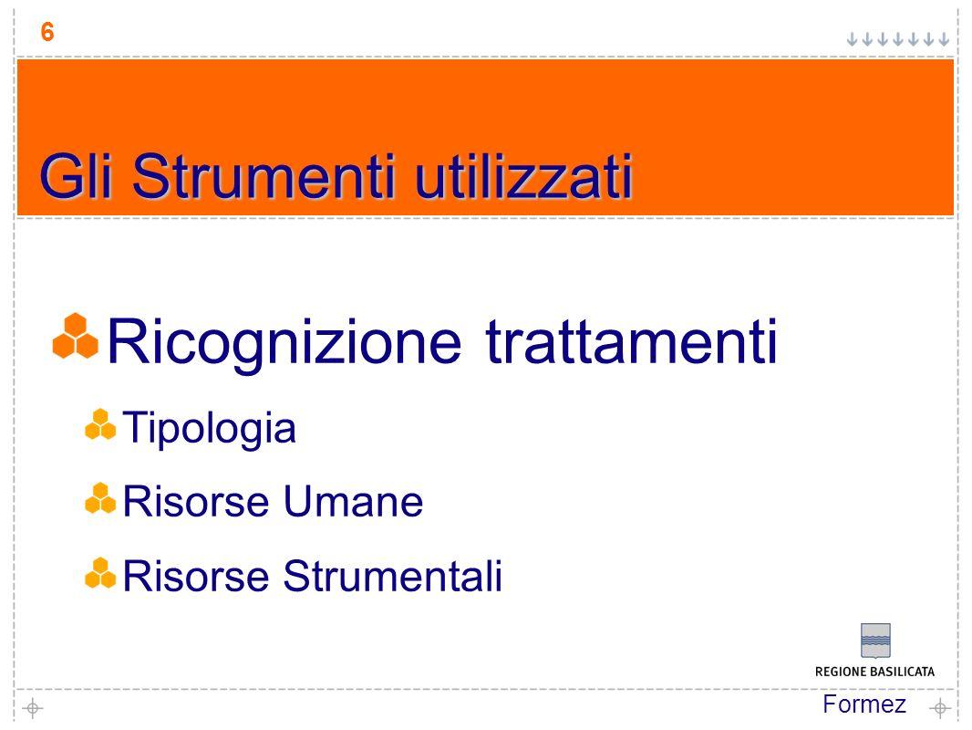Formez 6 Ricognizione trattamenti Tipologia Risorse Umane Risorse Strumentali Gli Strumenti utilizzati