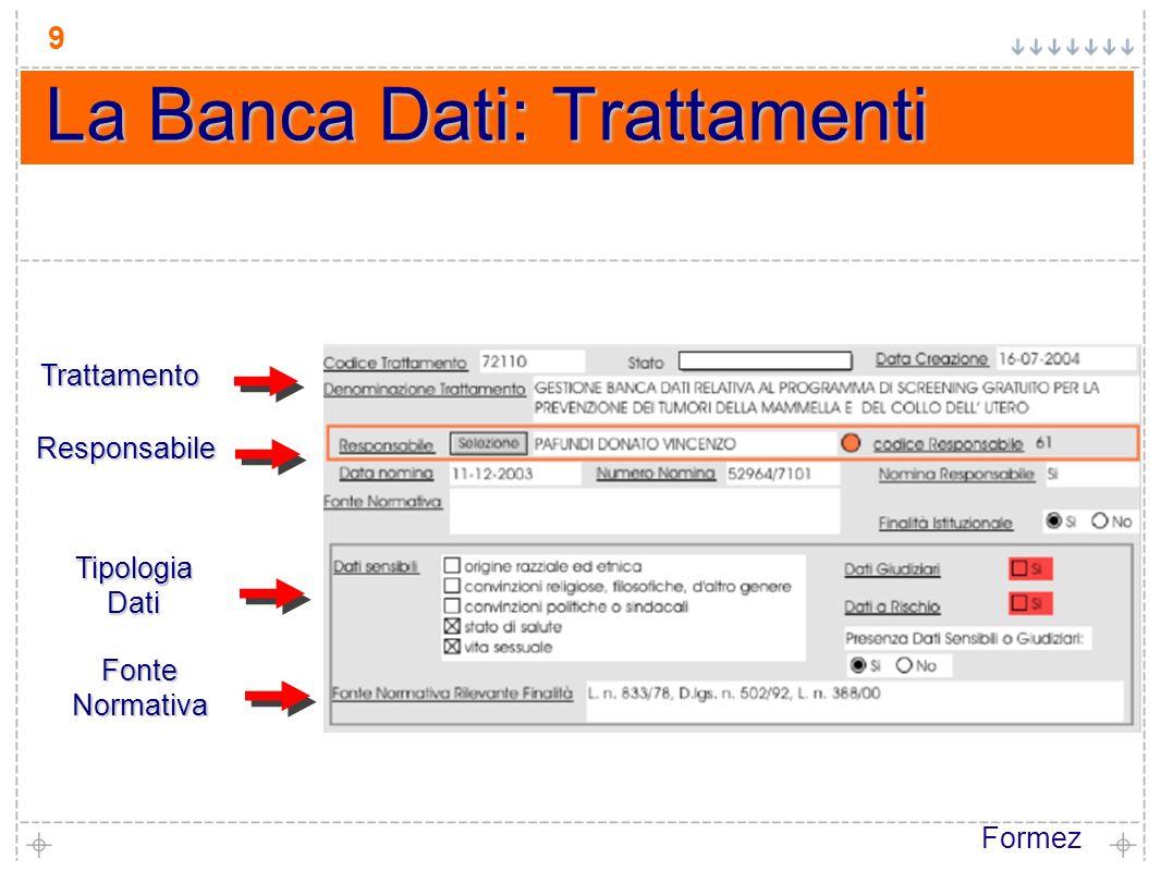 Formez 9 La Banca Dati: Trattamenti Trattamento Responsabile TipologiaDati FonteNormativa
