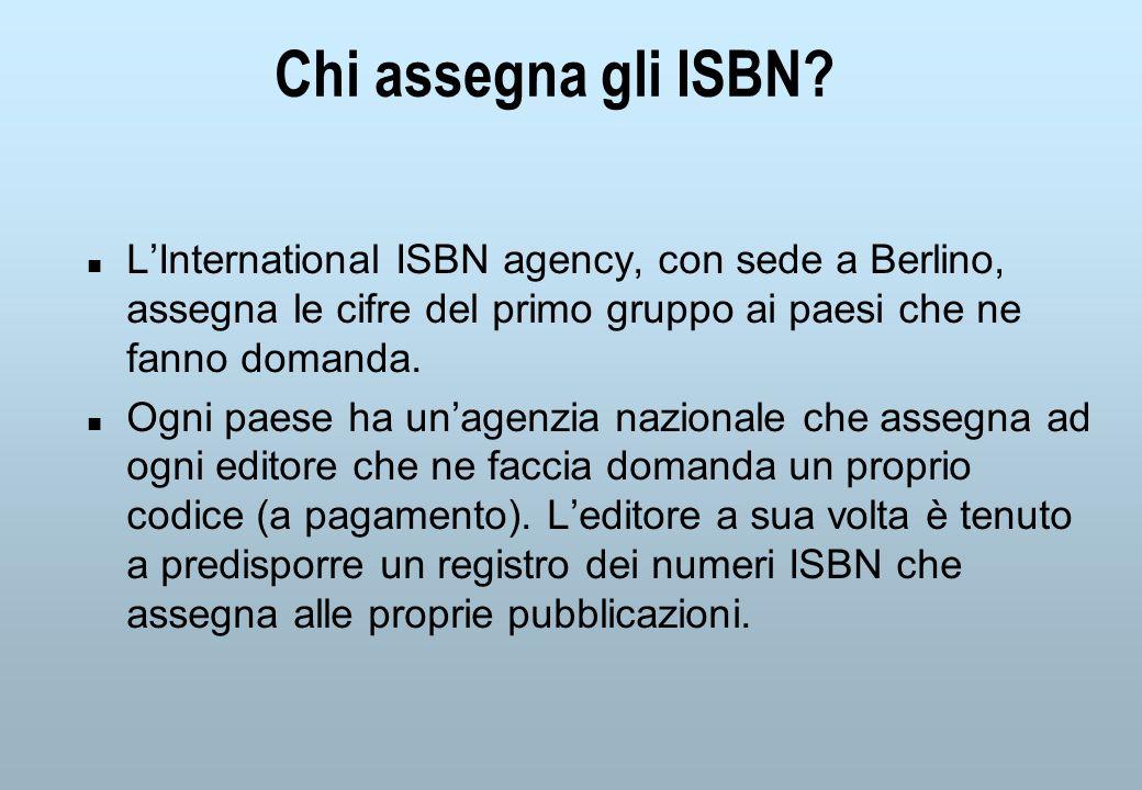 Chi assegna gli ISBN.