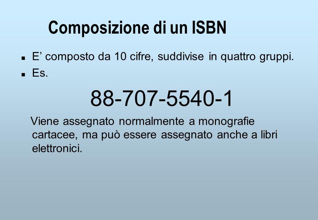 Composizione di un ISBN n E composto da 10 cifre, suddivise in quattro gruppi.