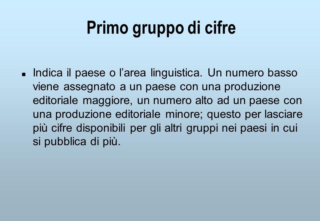 Primo gruppo di cifre n Indica il paese o larea linguistica.