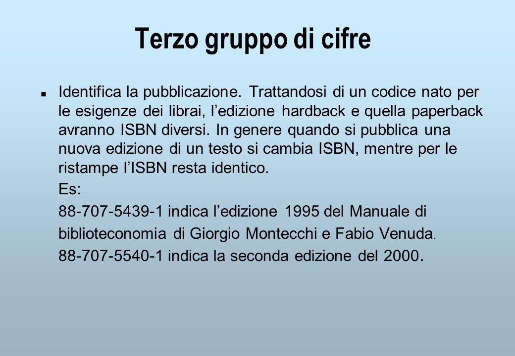 Terzo gruppo di cifre Identifica la pubblicazione.