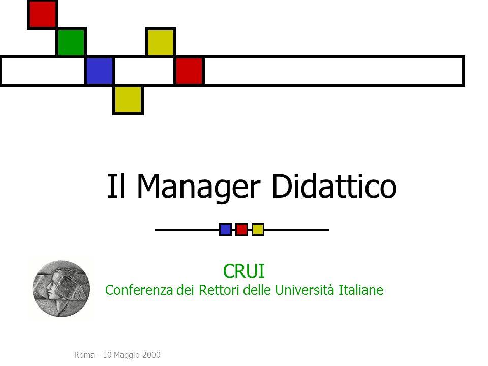 Roma - 10 Maggio 2000 Il Manager Didattico CRUI Conferenza dei Rettori delle Università Italiane